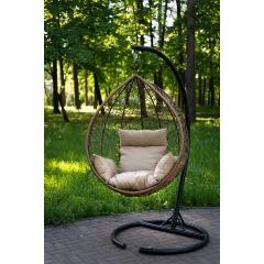 Подвесное кресло LAURA SEVILLA горячий шоколад + бежевая подушка Изображение 4 - купить в интернет магазине с доставкой, цены, описание, характеристики, отзывы