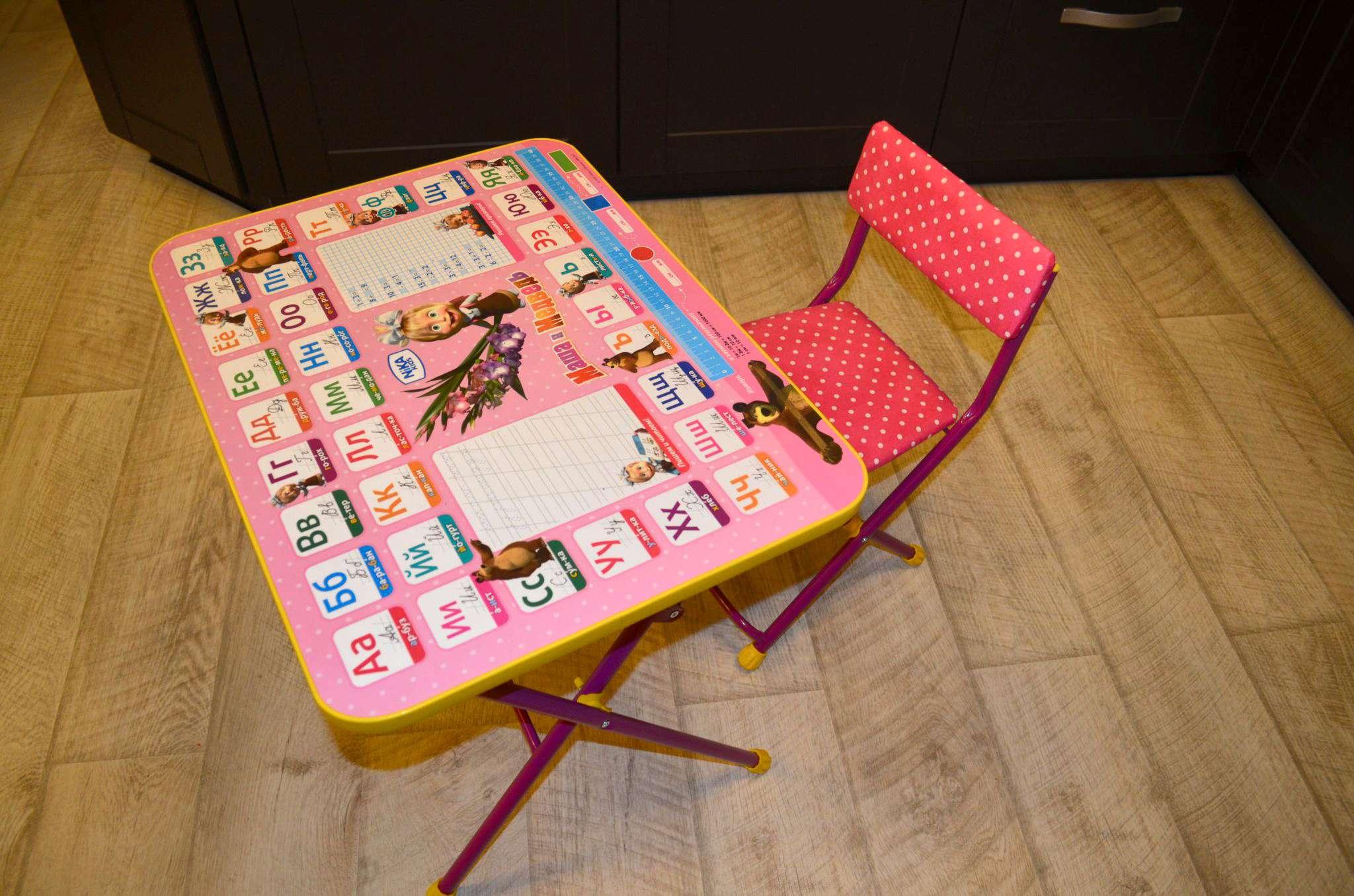 набор детской мебели ника умничка стол стул маша и медведь азбука 3