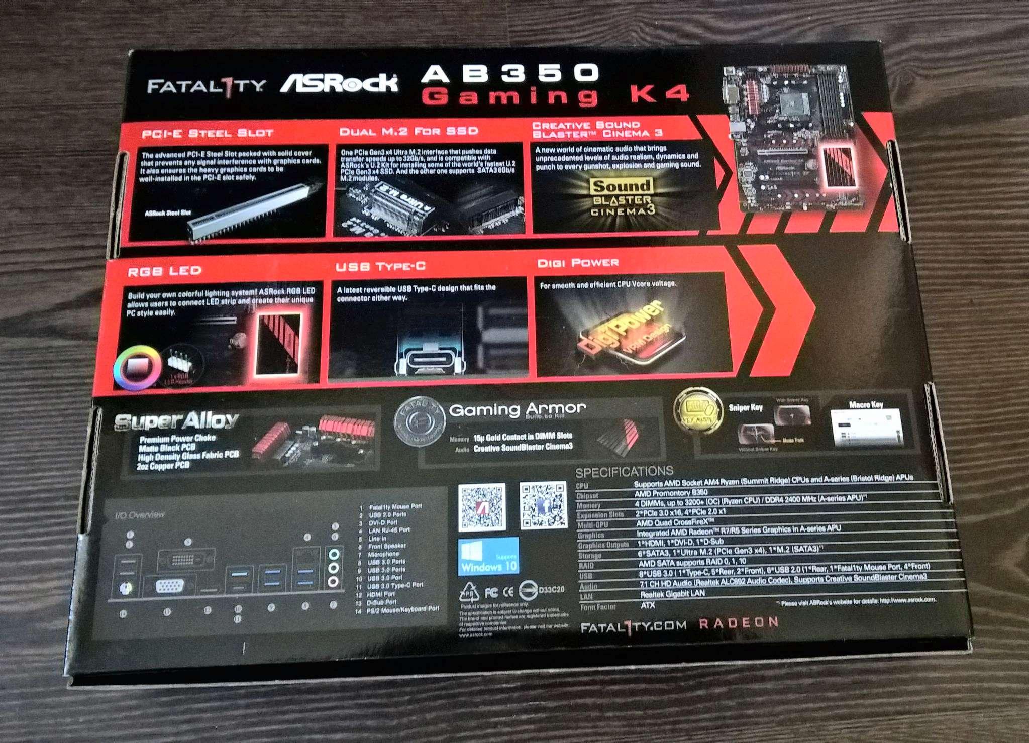 Материнская плата ASRock AB350 GAMING K4 (AM4, ATX)