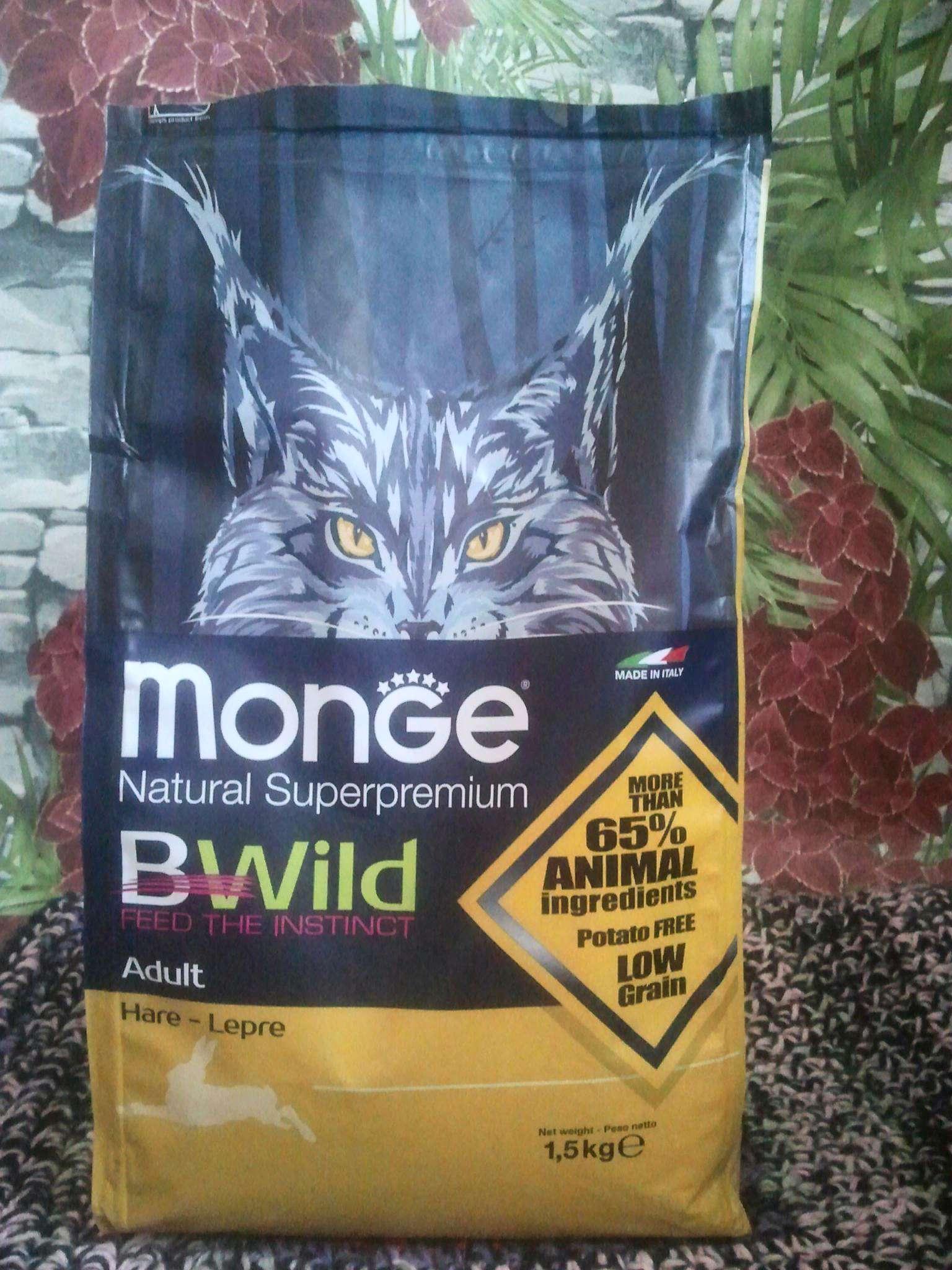 40b6a50e9 Корм для взрослых кошек Monge Bwild Cat Hare с мясом зайца 1,5 кг ...